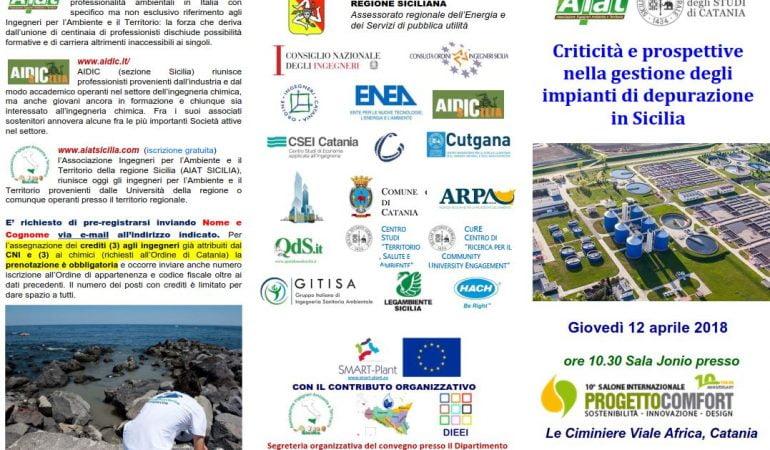 Criticità e prospettive  nella  gestione degli impianti di depurazione in Sicilia  – AIAT a Progetto Comfort 2018 🗓 🗺